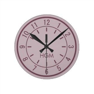 カスタムなモノグラムの柱時計 ラウンド壁時計