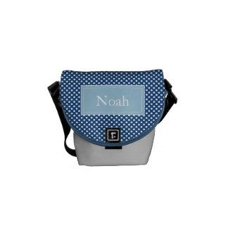 カスタムなモノグラムの水玉模様の学校か昼食のバッグ、 メッセンジャーバッグ