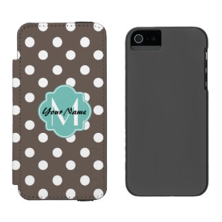 カスタムなモノグラムの水玉模様パターンギフト INCIPIO WATSON™ iPhone 5 財布 ケース