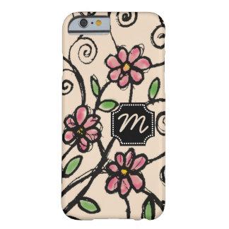 カスタムなモノグラムの素朴な花パターン BARELY THERE iPhone 6 ケース