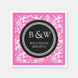 カスタムなモノグラムの結婚式のナプキンの黒のピンクのダマスク織 スタンダードカクテルナプキン