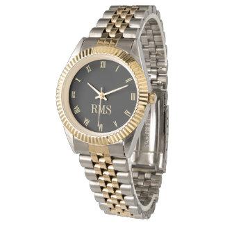 カスタムなモノグラムの金ゴールドの銀の調子のブレスレットの腕時計 腕時計