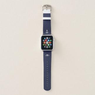 カスタムなモノグラムの青いAppleの時計バンド(航海のな) Apple Watchバンド