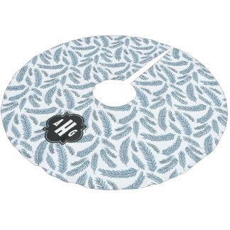 カスタムなモノグラムの青く小ぎれいな小枝パターン ブラッシュドポリエステルツリースカート
