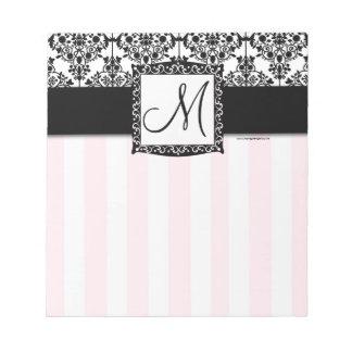 カスタムなモノグラムの黒のダマスク織のピンクのストライプのメモ帳 ノートパッド