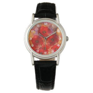 カスタムなモノグラムを持つ熱い夏のケシ 腕時計