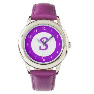 カスタムなモノグラムアイコンが付いている紫色の子供の腕時計 腕時計