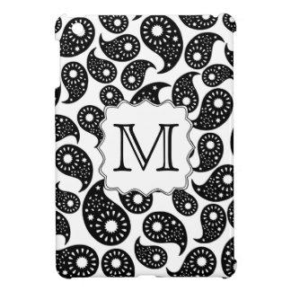 カスタムなモノグラム。 白黒ペイズリーパターン iPad MINI カバー
