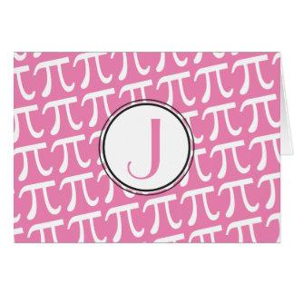 カスタムなモノグラムPiの記号のピンク カード