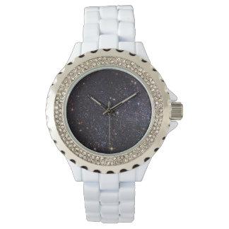 カスタムなラインストーンの白のエナメル 腕時計
