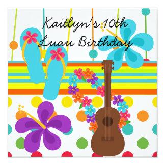 カスタムなルアウ(ハワイ式宴会)の誕生日の招待状 カード