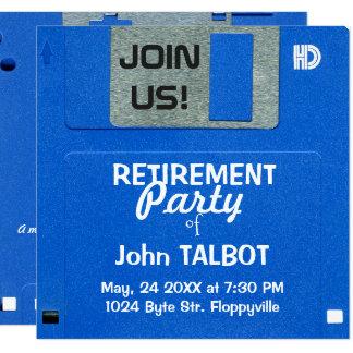 カスタムなレトロのフロッピー・ディスク退職パーティーの招待 カード