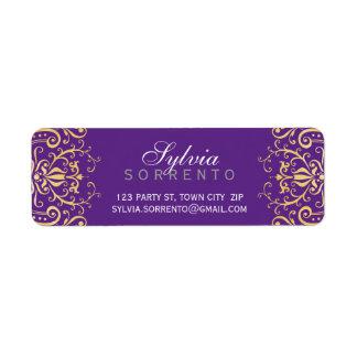 カスタムなヴィンテージのエレガントな線条細工のダマスク織の紫色の金ゴールド ラベル