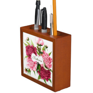 カスタムなヴィンテージのピンクの花およびハチドリ ペンスタンド