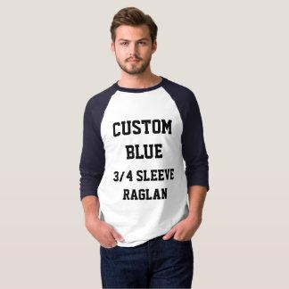 カスタムな人の海軍3/4袖のRAGLANのTシャツ Tシャツ