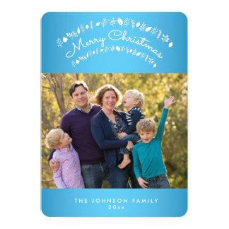 カスタムな円形の青いメリークリスマスの写真カード 12.7 X 17.8 インビテーションカード