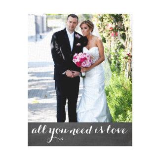 カスタムな写真および文字の結婚したなカップル|は最近結婚します キャンバスプリント
