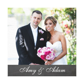 カスタムな写真および文字は最近|の結婚したなカップルを結婚します キャンバスプリント