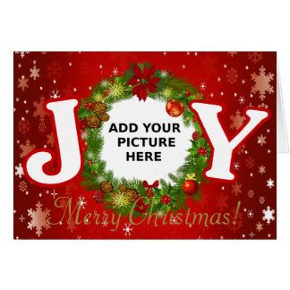 カスタムな写真のクリスマスの喜びはあなたの写真のリースを加えます カード
