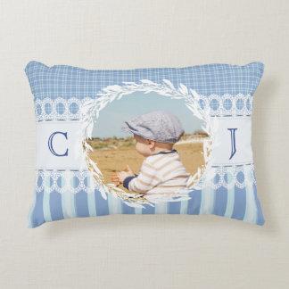 カスタムな写真のモノグラムの青色児の子供部屋の枕 アクセントクッション