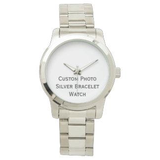 カスタムな写真のユニセックスな銀製のブレスレットの腕時計を作成して下さい ウオッチ