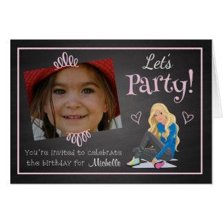カスタムな写真の女の子の誕生日のパーティの招待状 グリーティングカード