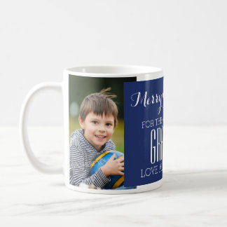 カスタムな写真の最も最高のな祖父のクリスマスのマグの青 コーヒーマグカップ