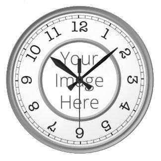 カスタムな写真の灰色のモダンなミニマリスト ラージ壁時計