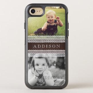 カスタムな写真は及び|を暗い木及び白いレースと示します オッターボックスシンメトリーiPhone 8/7 ケース
