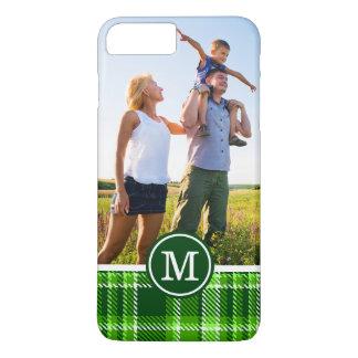 カスタムな写真及びモノグラムチェック模様の緑パターン iPhone 8 PLUS/7 PLUSケース