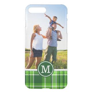 カスタムな写真及びモノグラムチェック模様の緑パターン iPhone 8 PLUS/7 PLUS ケース