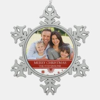 カスタムな写真家族のクリスマスのオーナメントの赤 スノーフレークピューターオーナメント