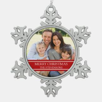 カスタムな写真家族のクリスマスのオーナメント スノーフレークピューターオーナメント