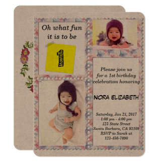 カスタムな写真花フレームの第1誕生日の招待状 10.8 X 14 インビテーションカード