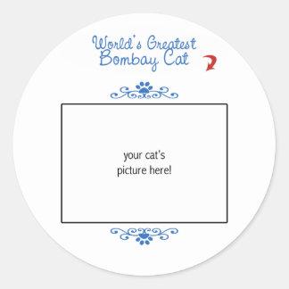 カスタムな写真! 世界の最も素晴らしいボンベイ猫 ラウンドシール