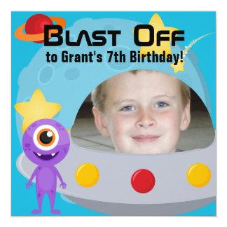 カスタムな写真UFOの外国の誕生日の招待状 カード