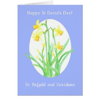 カスタムな前部St Davidの日のラッパスイセンカード カード