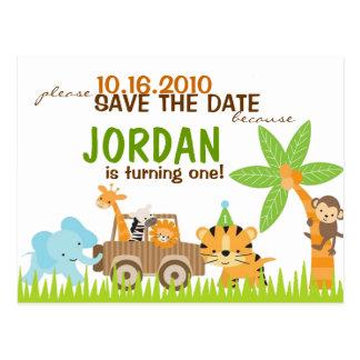 カスタムな動物のサファリの保存日付 ポストカード