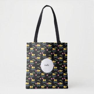 カスタムな名札が付いている花パターン トートバッグ
