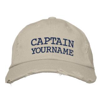 カスタムな大尉またはボートの名前 刺繍入りキャップ