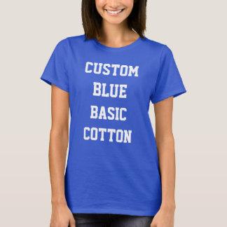 カスタムな女性の青いBASICの綿のTシャツ Tシャツ