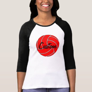 カスタムな女性の3/4枚の袖の赤いバレーボールのTシャツ Tシャツ