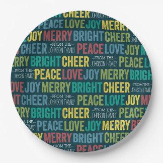 カスタムな姓の平和愛喜びのメリーな応援 ペーパープレート