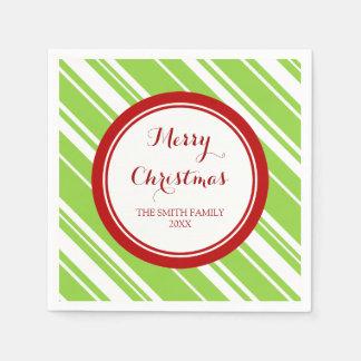 カスタムな家族のクリスマスの緑はナプキンを縞で飾ります スタンダードカクテルナプキン