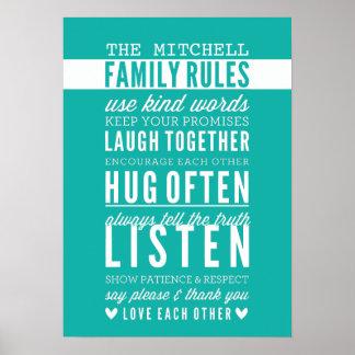 カスタムな家族はモダンなタイポグラフィのヒスイ緑を支配します ポスター