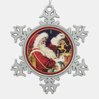 カスタムな年および姓のクリスマスオーナメント スノーフレークピューターオーナメント