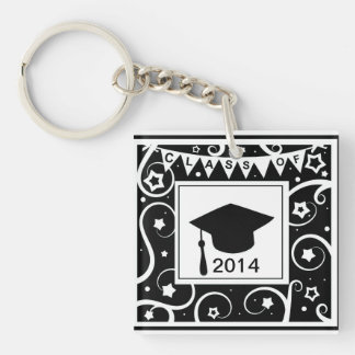 カスタムな年の卒業の白黒クラス キーホルダー