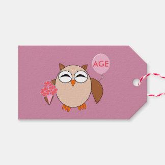 カスタムな年齢の誕生日のフクロウのギフトのラベル ギフトタグ