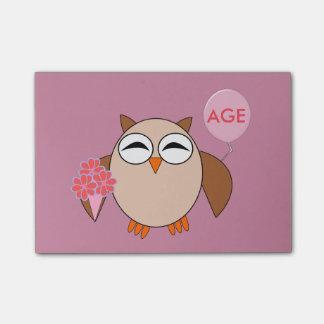 カスタムな年齢の誕生日のフクロウのポスト・イットのパッド ポストイット
