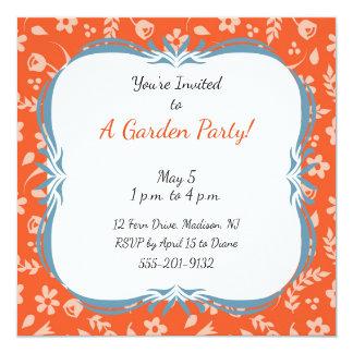 カスタムな庭のパーティの招待状のオレンジの花柄 カード